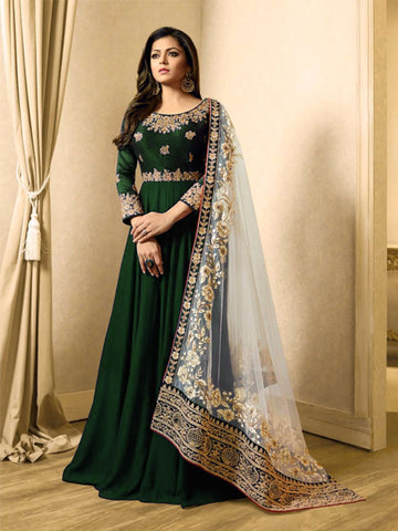 Buy Green Georgette Anarkali Suit Online - YOYO Fashion