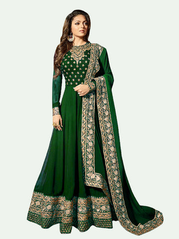 Buy Green Georgette Anarkali Suit Online On YOYO Fashion.