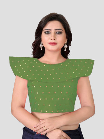 Buy Green High Neck Silk Blouse Online from YOYO Fashion