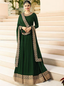 Green Plain Anarkali Suit with Heavy Border Online - YOYO Fashion