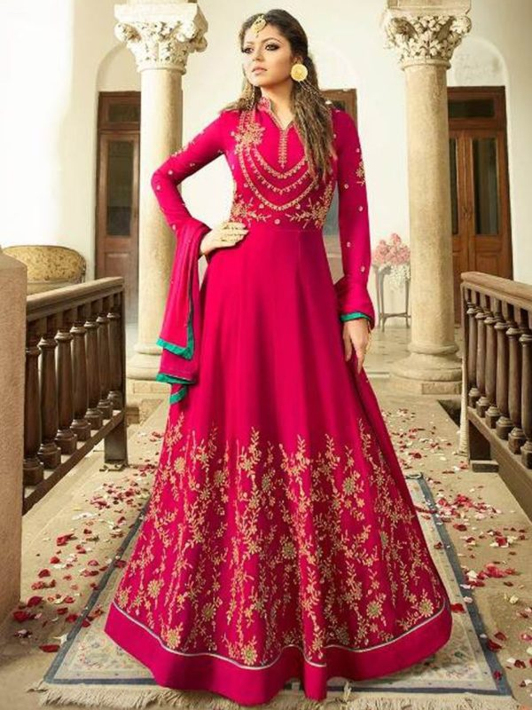 Buy Imperial Red Semi-Stitched Anarkali Suit Online - YOYO Fashion
