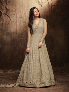 Latest Beige Long Anarkali Salwar Suit Online - YOYO Fashion