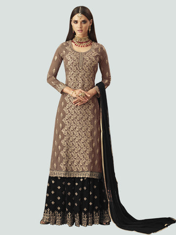 Shop Latest Designer Beige and Black Sharara Suit Design from YOYO Fashion