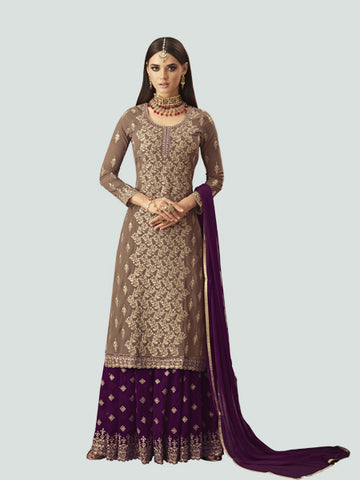 Latest Beige and Purple Straight Salwar Suit Online - YOYO Fashion