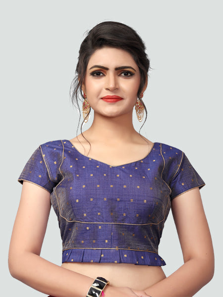 Buy Latest Blue Silk Saree Blouse Online - YOYO Fashion