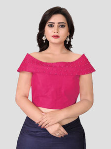 Latest Designer Pink Boat Neck Solid Blouse Online On YOYO Fashion