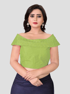 Latest Designer Green Boat Neck Solid Blouse Online On YOYO Fashion