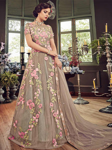 Latest Grey Anarkali Salwar Suit Online - YOYO Fashion