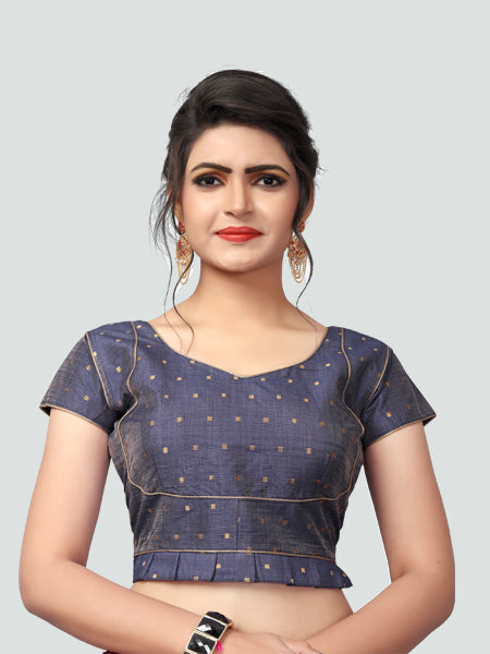 Buy Latest Grey Silk Saree Blouse Online - YOYO Fashion