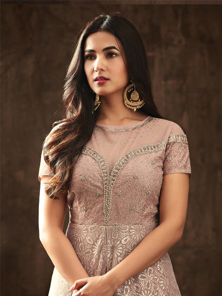 Latest Light Peach Anarkali Salwar Suit Online - YOYO Fashion