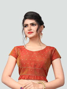 Buy Latest Orange Silk Saree Blouse Online - YOYO Fashion