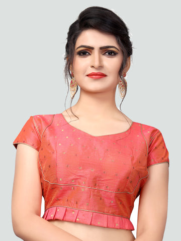 Buy Latest Peach Silk Saree Blouse Online - YOYO Fashion
