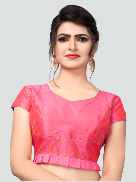 Buy Latest Pink Silk Saree Blouse Online - YOYO Fashion