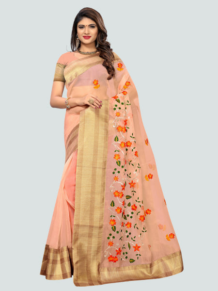 Buy Latest Poli Net Peach Embroidered Saree Online On YOYO Fashion.