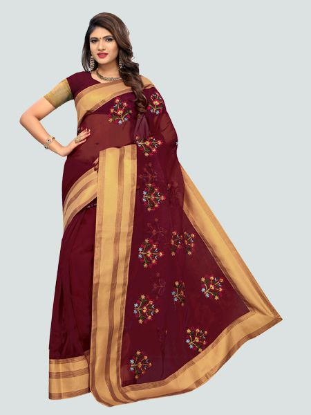 Buy Latest Poli Net Maroon Embroidered Saree Online On YOYO Fashion.