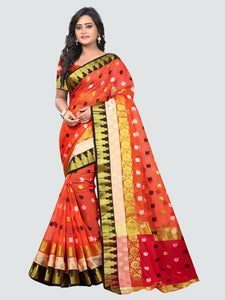 Buy Latest Polyester Orange Embroidered Saree Online On YOYO Fashion.