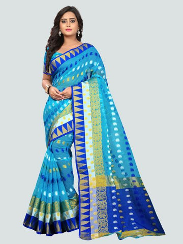Buy Latest Polyester Blue Embroidered Saree Online On YOYO Fashion.