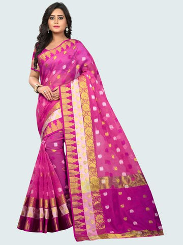 Latest Polyester Pink Embroidered Saree Online On YOYOFashion.