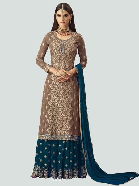 Shop Latest Designer Beige and Turquoise Sharara Suit Design from YOYO Fashion
