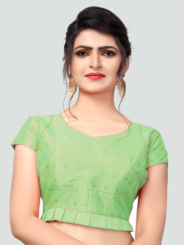 Buy Latest Light Green Silk Saree Blouse Online - YOYO Fashion