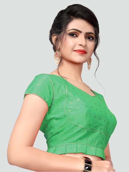 Left Side of Green Silk Saree Blouse for Women - YOYO Fashion