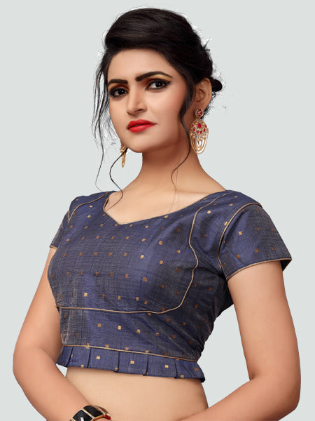 Right Side of Grey Silk Saree Blouse for Women - YOYO Fashion