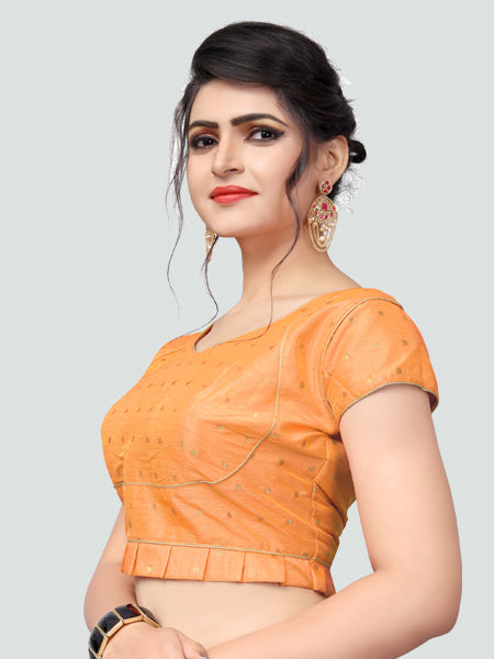 Right Side of Light Orange Silk Saree Blouse for Women - YOYO Fashion