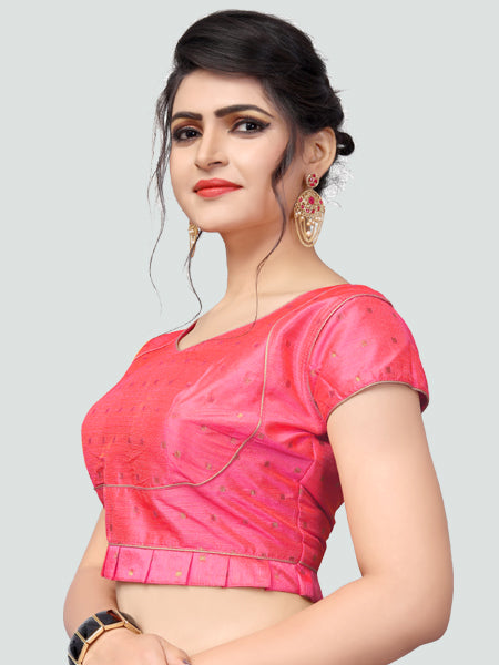 Right Side of Pink Silk Saree Blouse for Women - YOYO Fashion