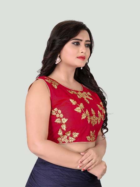 Red Round Neck Women's Stitched Blouse Online -YOYO Fashion