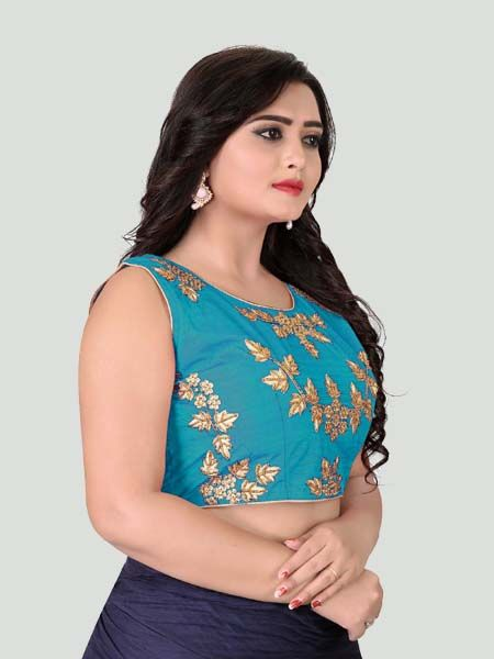 Turquoise Round Neck Women's Stitched Blouse Online - YOYO Fashion