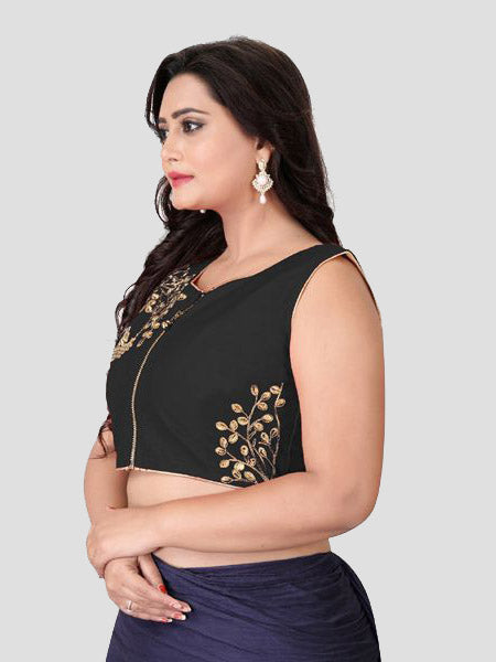 Left Side of Black Silk Saree - YOYO Fashion
