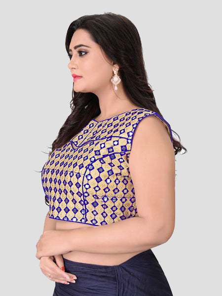 Left Side of Blue Mirror Work Blouse - YOYO Fashion
