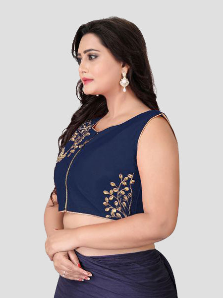 Left Side of Navy Blue Silk Blouse - YOYO Fashion