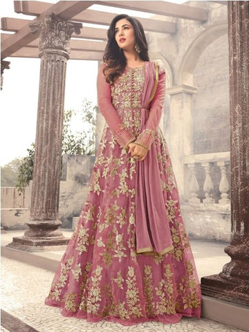 Buy Light Pink Embroidered Net Anarkali Suit Online - YOYO Fashion
