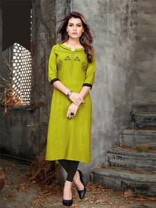 Buy Light_Green Heavy Rayon Kurti Online - YOYO Fashion
