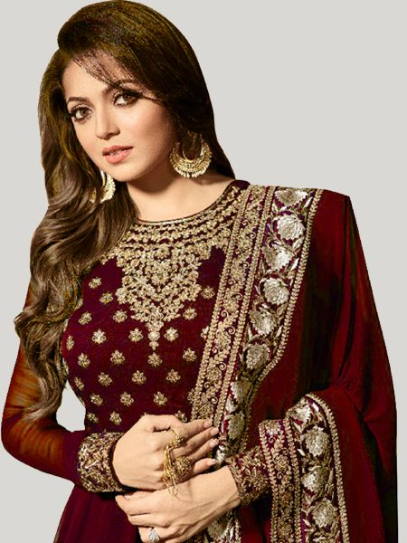 Buy Maroon Georgette Anarkali Suit Online - YOYO Fashion