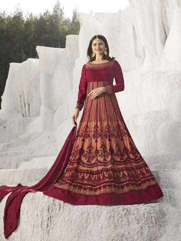 Buy Maroon & Peach Embroidered Anarkali Suit Online - YOYO Fashion