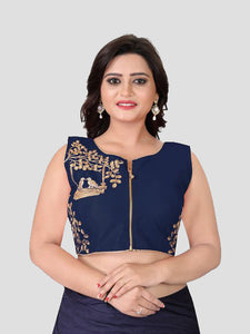 Buy Navy Blue Embroidered Silk Blouse Online - YOYO Fashion