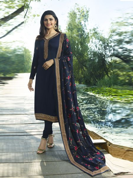Buy Navy Blue Designer Straight Salwar Suit Online - YOYO Fashion