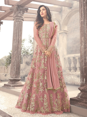Buy Onion Pink Embroidered Net Anarkali Suit Online - YOYO Fashion