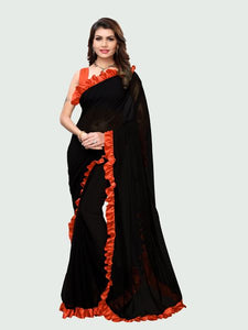 Orange and Black Ruffle Saree Online - YOYO Fashion