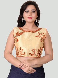 Orange Boat Neck Women's Stitched Blouse Online - YOYO Fashion