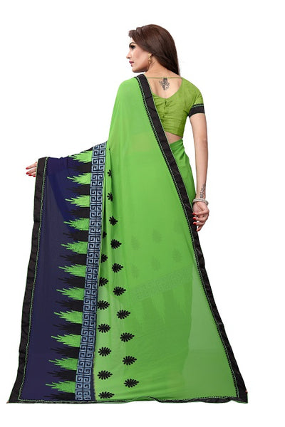 Pallu of Green Georgette Embroidery Saree - YOYO Fashion