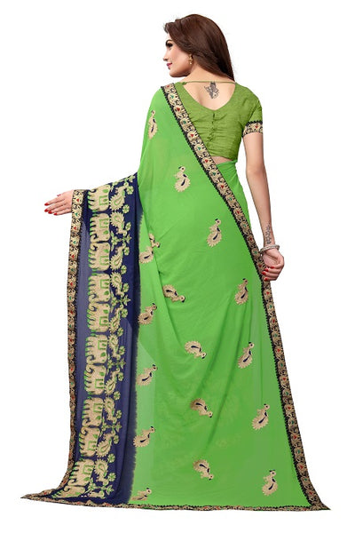 Buy Green Georgette Saree with Animal Embroidery Online - YOYO Fashion