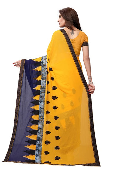 Pallu of Mustard Georgette Embroidery Saree - YOYO Fashion
