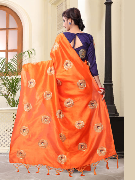 Buy Orange Embroidered Saree With Blouse Online - YOYO Fashion