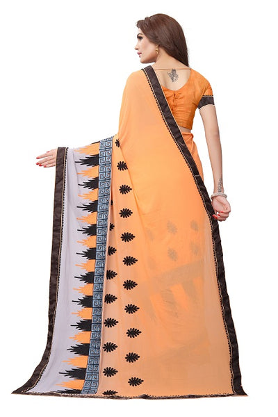 Pallu of Orange Georgette Embroidery Saree - YOYO Fashion