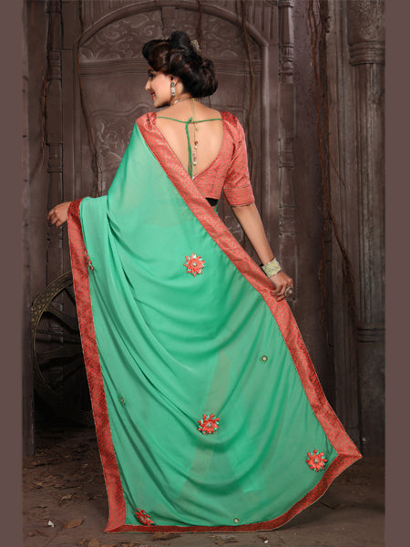 Back Pallu of Green and Orange Embroidered Silk Saree - YOYO Fashion