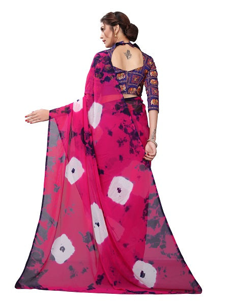 Pallu of Pink Printed Georgette Saree - YOYO Fashion