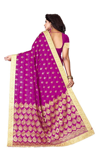 Pallu of Pink Silk Saree with Flower Embroidery - YOYO Fashion
